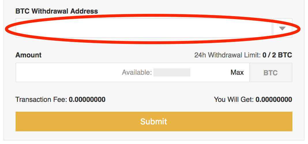 Binance-Enter-BTC-Withdrawal-Address